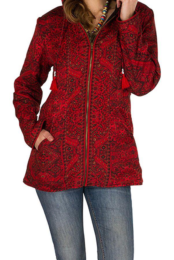 Veste femme imprimée rouge avec une capuche Sonia 305378