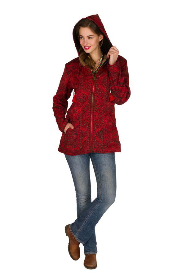 Veste femme imprimée rouge avec une capuche Sonia 305383