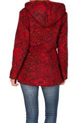 Veste femme imprimée rouge avec une capuche Sonia 305384