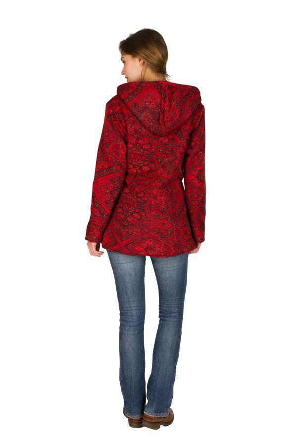 Veste femme imprimée rouge avec une capuche Sonia 305385