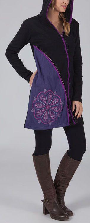 Veste femme mi-longue à capuche Ethnique et Originale Cacilya 274546