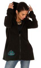 Veste femme pour l'hiver à motif ethnique en polaire Dosso 313264