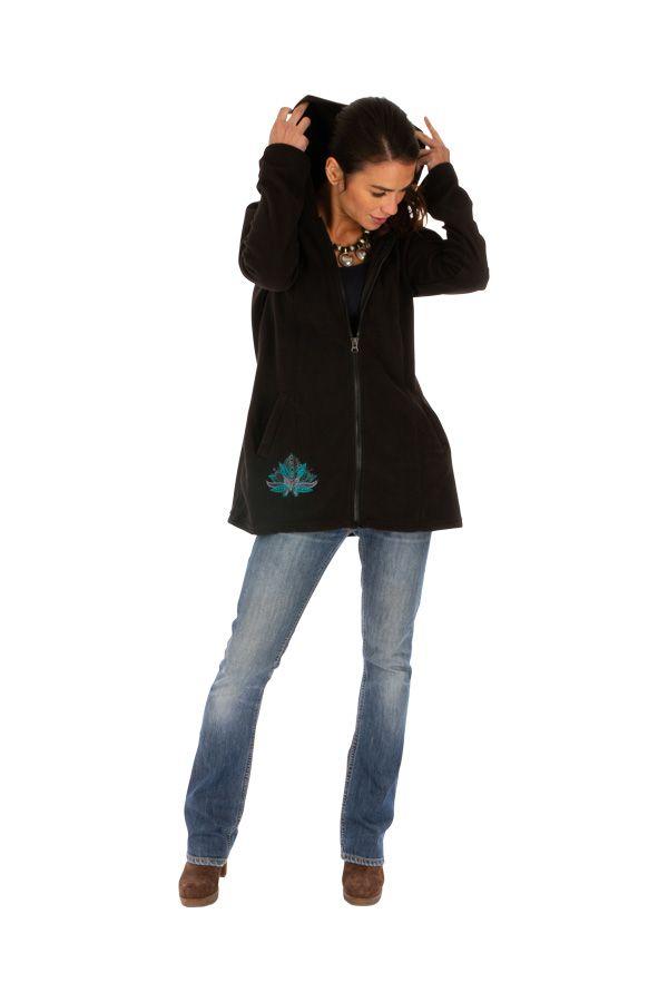 Veste femme pour l'hiver à motif ethnique en polaire Dosso 313265