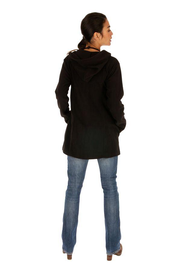 Veste femme pour l'hiver à motif ethnique en polaire Dosso 313266