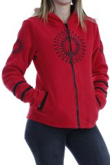 Veste femme tendance ethnique rouge imprimée mandala noir Marianne 304020