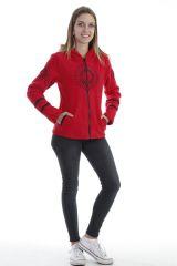 Veste femme tendance ethnique rouge imprimée mandala noir Marianne 304021