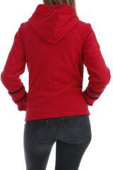 Veste femme tendance ethnique rouge imprimée mandala noir Marianne 304022