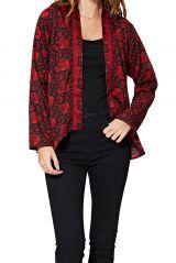 Veste fluide et légère femme rouge et noire florale Diana