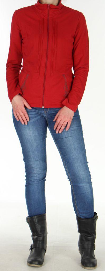 Veste légère pour Femme Originale à motifs Tribal Casia Rouge 278394