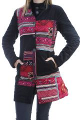 Veste longue femme originale en velours à boutons Burek 305060