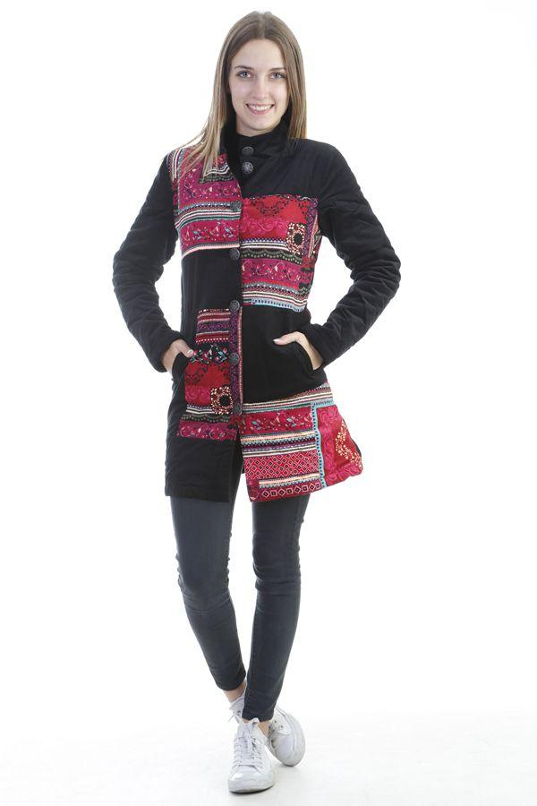Veste longue femme originale en velours à boutons Burek 305062