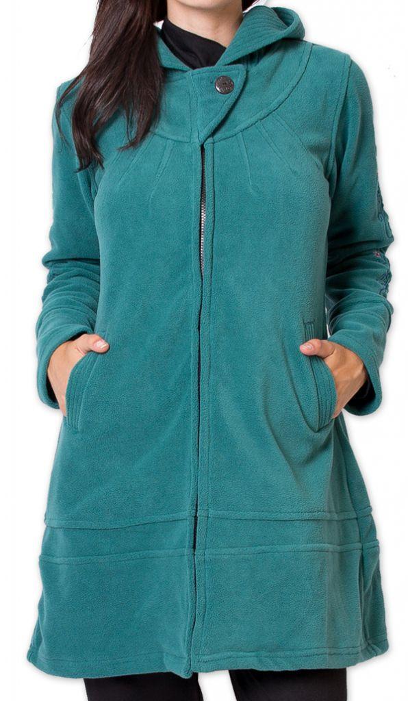 Veste Longue Polaire Ethnique et Bien Chaude Mandre Turquoise 277638