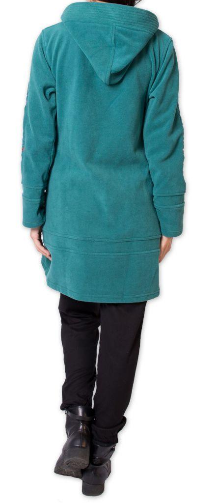 Veste Longue Polaire Ethnique et Bien Chaude Mandre Turquoise 277641