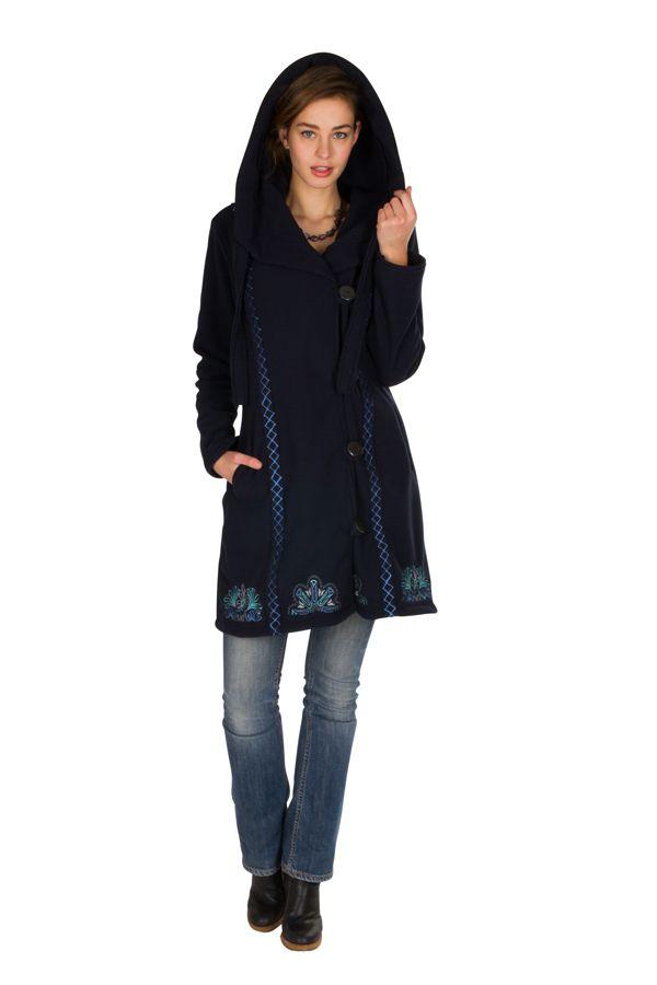 Veste longue polaire fantaisie à boutons et capuche Bleu marine kendall 300547