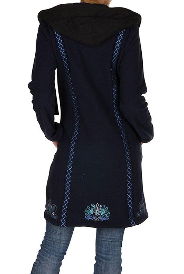 Veste longue polaire fantaisie à boutons et capuche Bleu marine kendall 300548