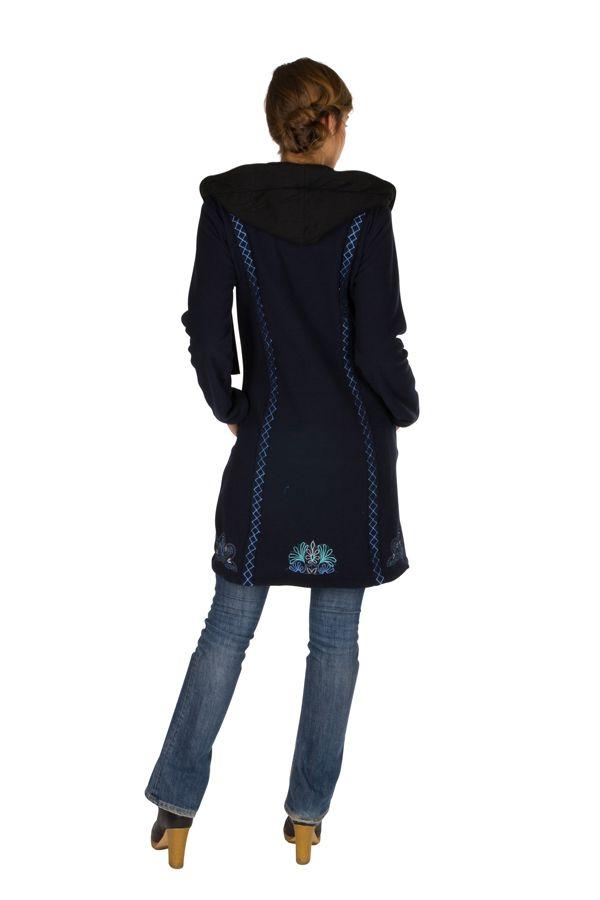 Veste longue polaire fantaisie à boutons et capuche Bleu marine kendall 300549