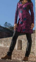 Veste mi-longue à capuche Ethnique et Colorée Guirec Rose 274741
