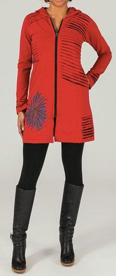 Veste mi-longue à capuche Ethnique et Colorée Reynald 273999