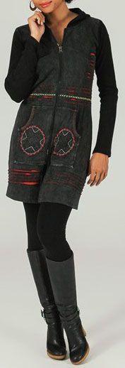 Veste mi-longue à capuche Ethnique et Colorée Saturna 274014