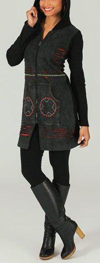 Veste mi-longue à capuche Ethnique et Colorée Saturna 274015