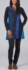 Veste mi-longue à capuche Ethnique et Originale bleu Lumina 274138
