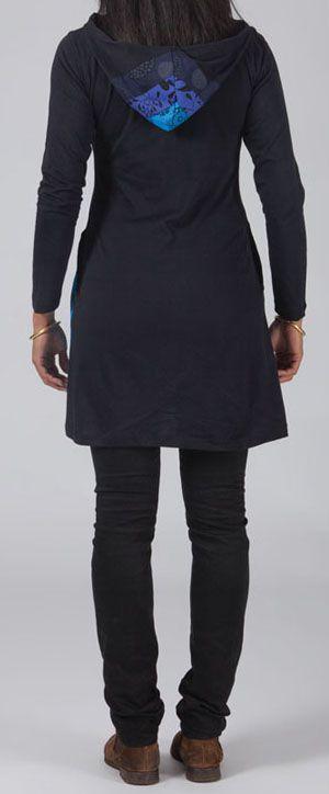 Veste mi-longue à capuche Ethnique et Originale bleu Lumina