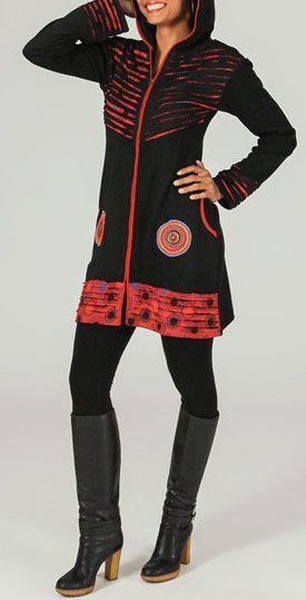 Veste mi-longue à capuche Ethnique et Originale Ewan 274266