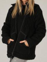 Veste Mixte à capuche Noire en Laine et Polaire Originale Jenny 276576
