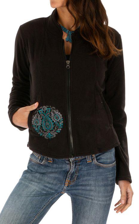 Veste noire chaude en polaire originale pour femme pas cher Ella 313082