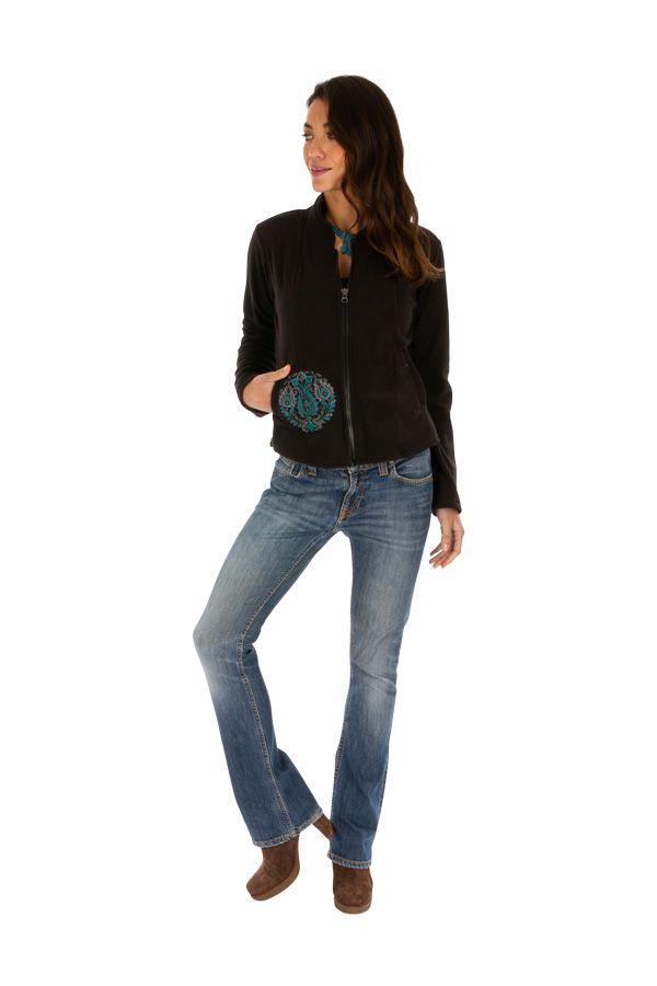 Veste noire chaude en polaire originale pour femme pas cher Ella 313083