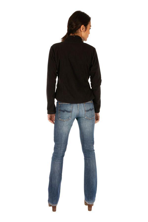 Veste noire chaude en polaire originale pour femme pas cher Ella 313084