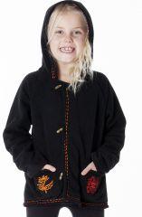 Veste noire en polaire avec capuche pour enfant 287630