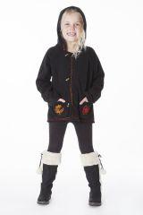Veste noire en polaire avec capuche pour enfant 287632