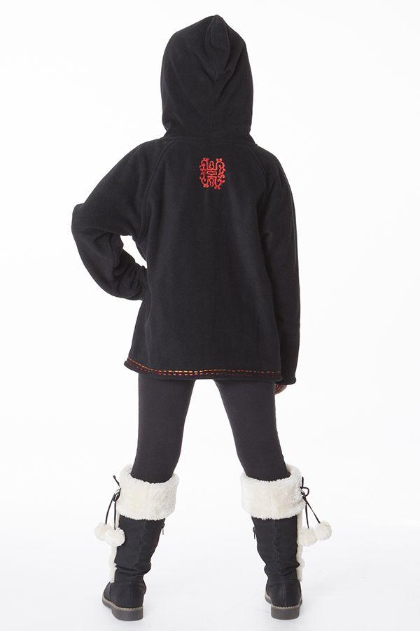 Veste noire en polaire avec capuche pour enfant 287633