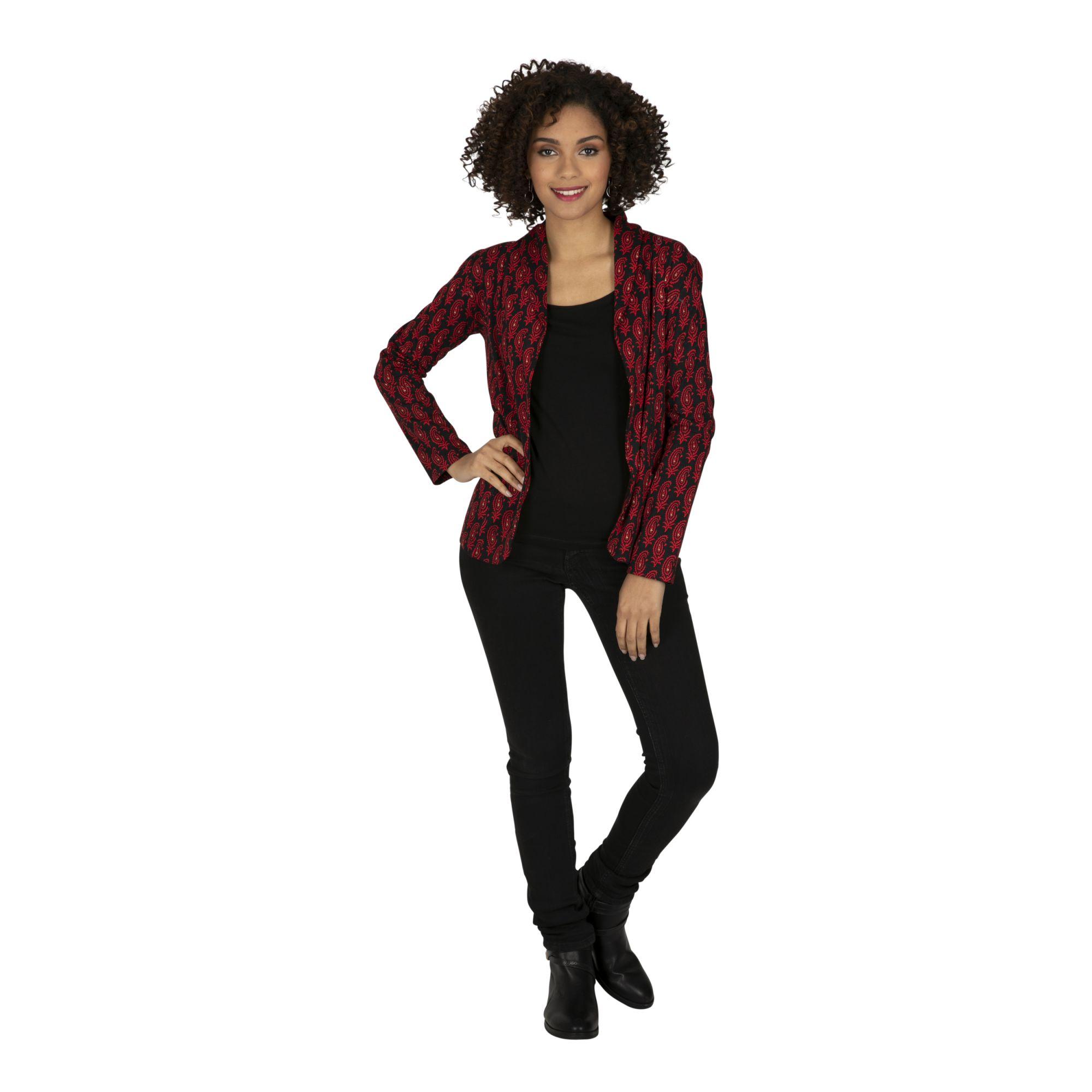 Veste noire femme courte chic à col châle Formosa