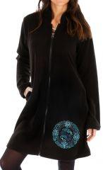 Veste noire pour femme à capuche et fermeture Allada 312740