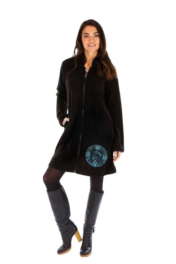 Veste noire pour femme à capuche et fermeture Allada 312741