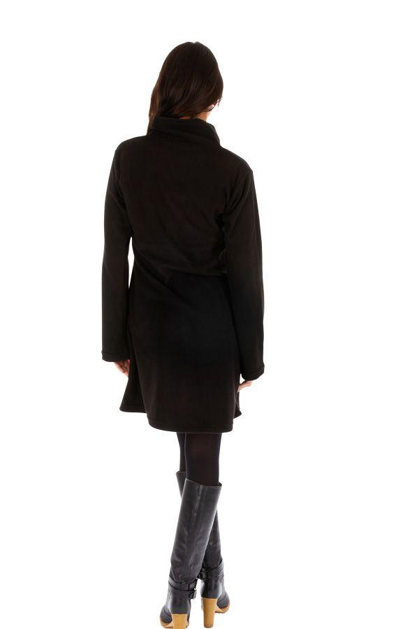 Veste noire pour femme à capuche et fermeture Allada 312742