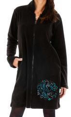 Veste noire pour femme en polaire et brodée bleu Kérou 312734