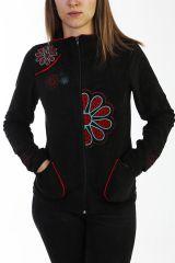 Veste noire pour femme en velours avec broderies 288096