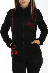 Veste originale noire en polaire pour femme 288129