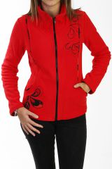 Veste originale rouge en polaire pour femme 288121