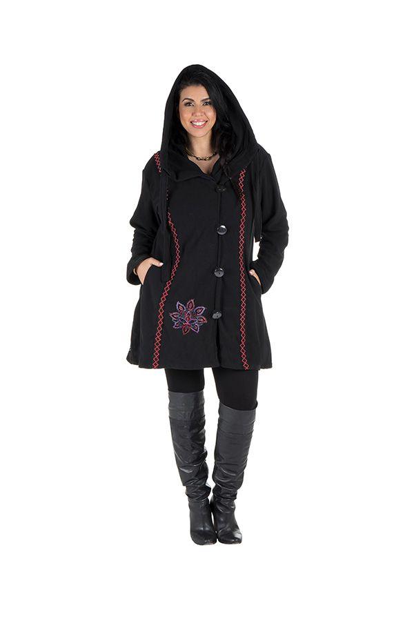 Veste ou Manteau ethnique noire en grande taille Limbé 313771