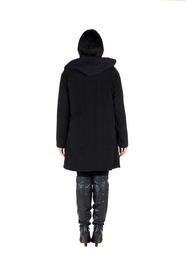Veste ou Manteau ethnique noire en grande taille Limbé 313772