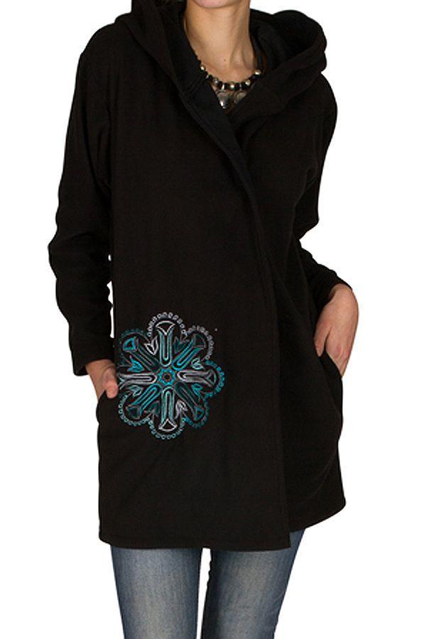 Veste polaire avec une capuche et fermeture boutons Noire Lorinda 300322