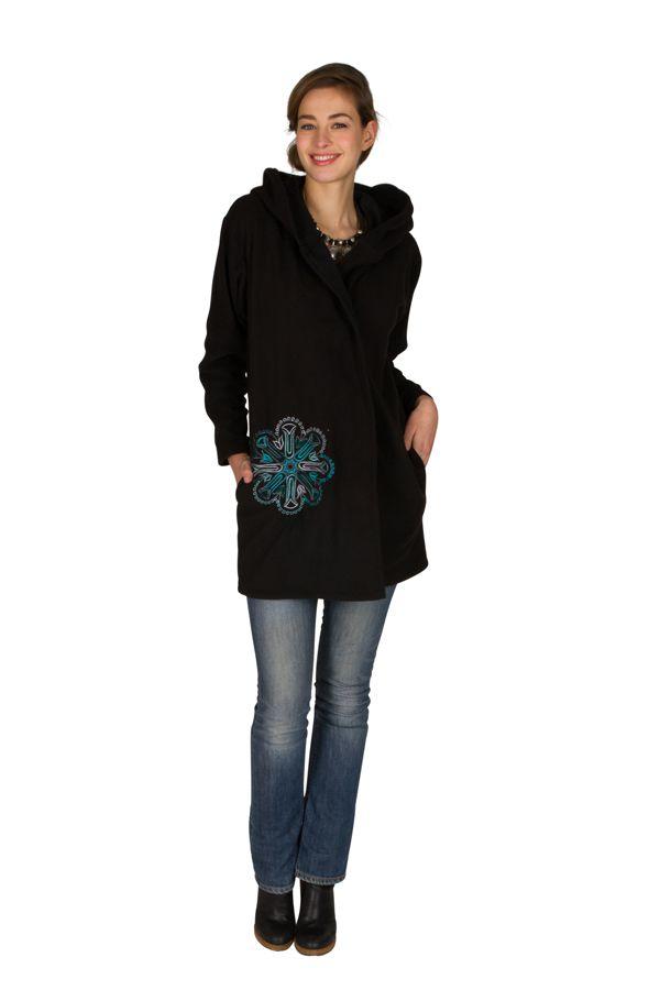 Veste polaire avec une capuche et fermeture boutons Noire Lorinda 300323