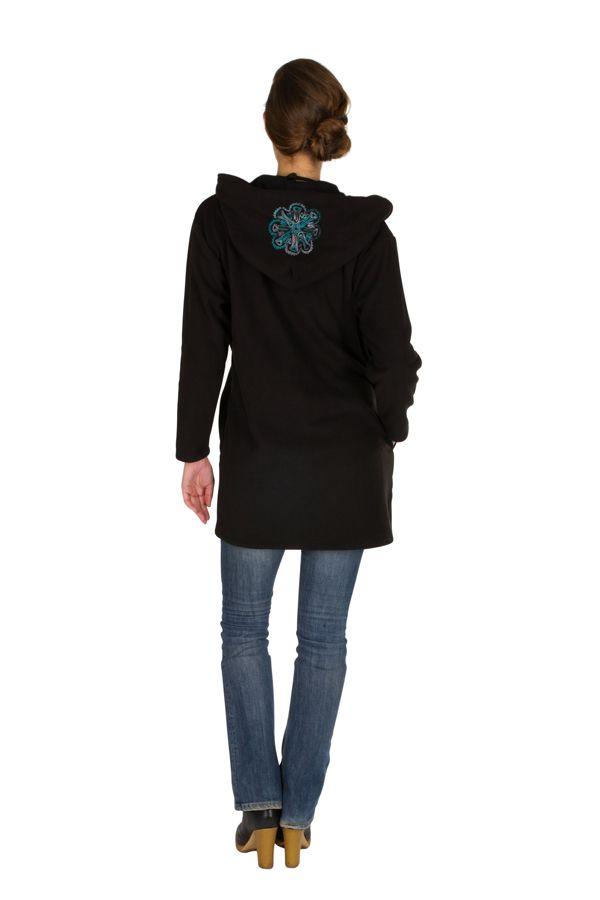Veste polaire avec une capuche et fermeture boutons Noire Lorinda 300325