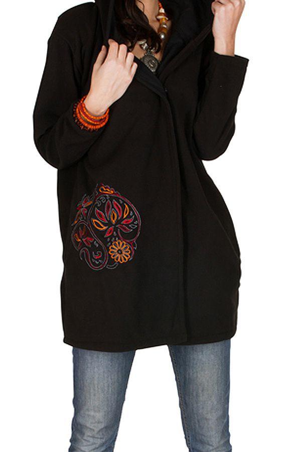 Veste polaire avec une capuche et manches longues Noire Artentica 300330
