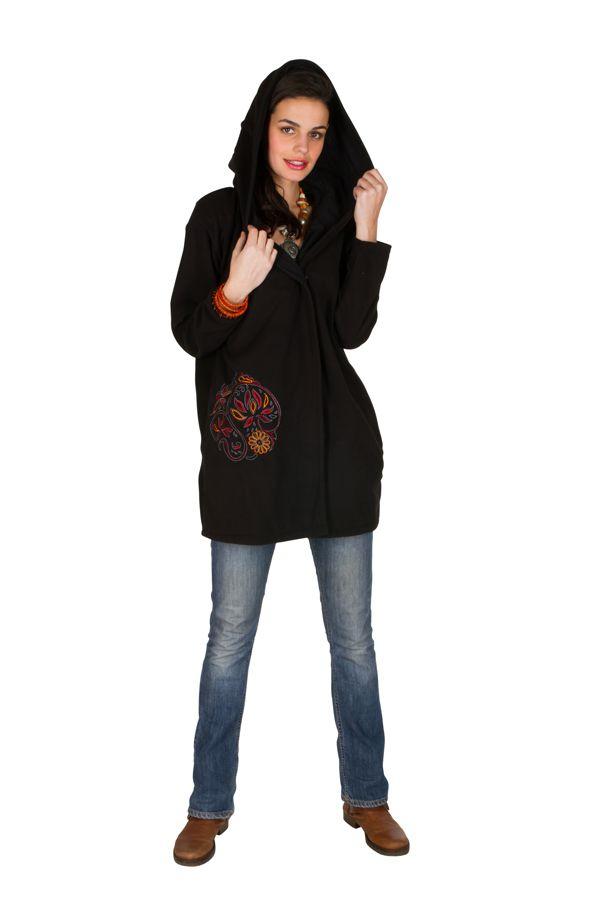 Veste polaire avec une capuche et manches longues Noire Artentica 300331