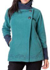 Veste polaire Bicolore et Ethnique pour Femme Kasamance Bleue 275646
